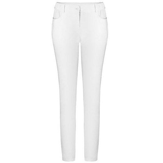 Spodnie medyczne damskie Uniformix, wąskie nogawki, białe. UN1211 STRETCH