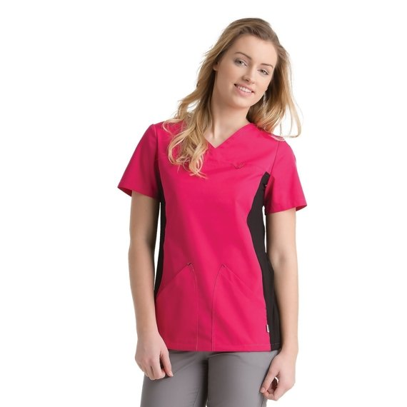 Medical Women's Top, two pockets, Uniformix, amaranth with black stretch panels under arms, UN2010B