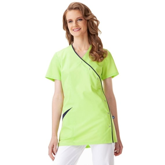 Medical Women's Tunic, Uniformix, lime with navy blue, UN2005B