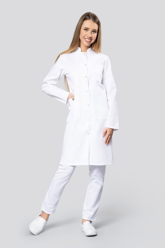 Medical Women's coat, Uniformix, 3 pockets, long sleeves, stand-up collar. W1S-RD