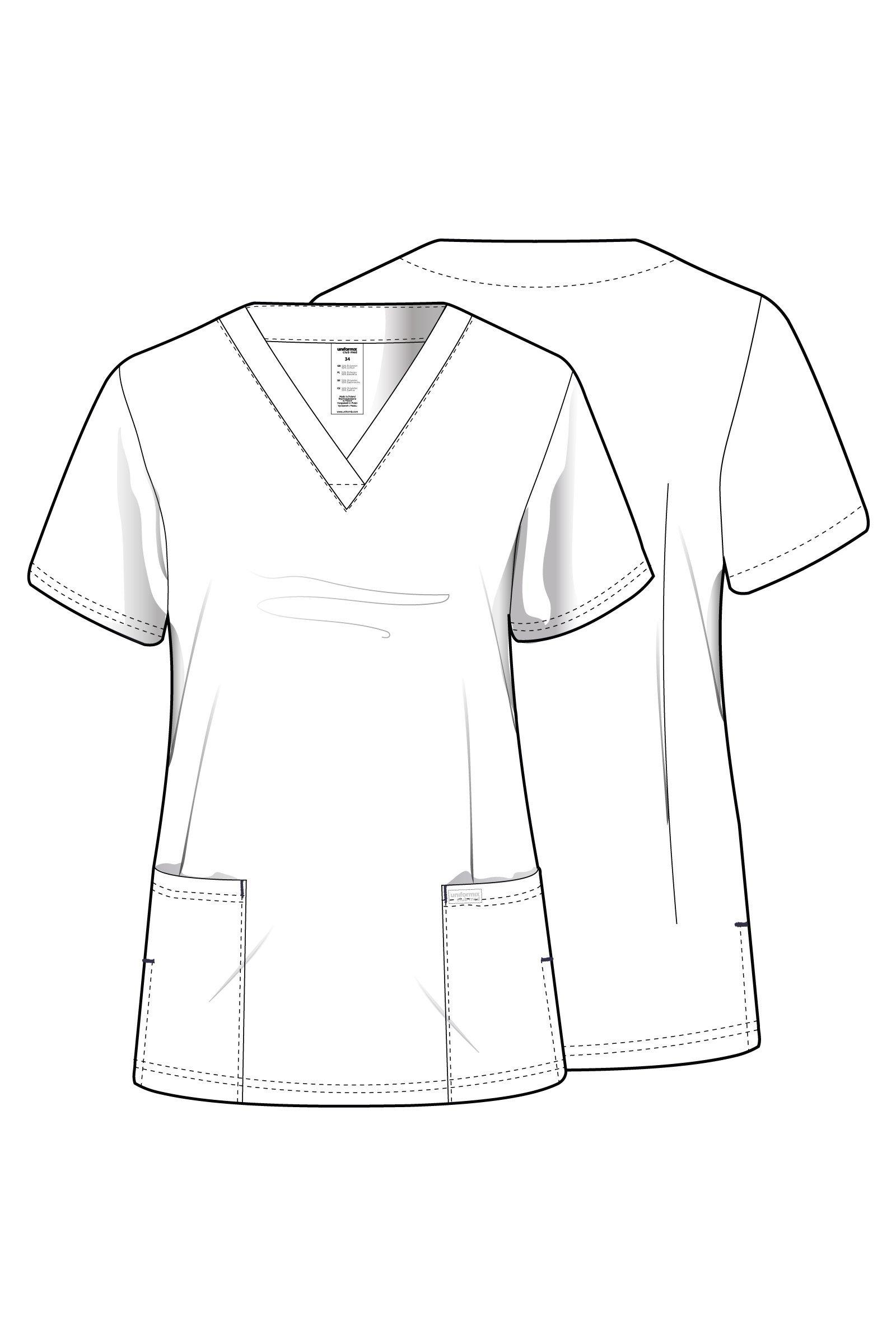Bluza medyczna damska, 2 kieszenie, Uniformix Club Med, taliowana, czerwona. CM1001