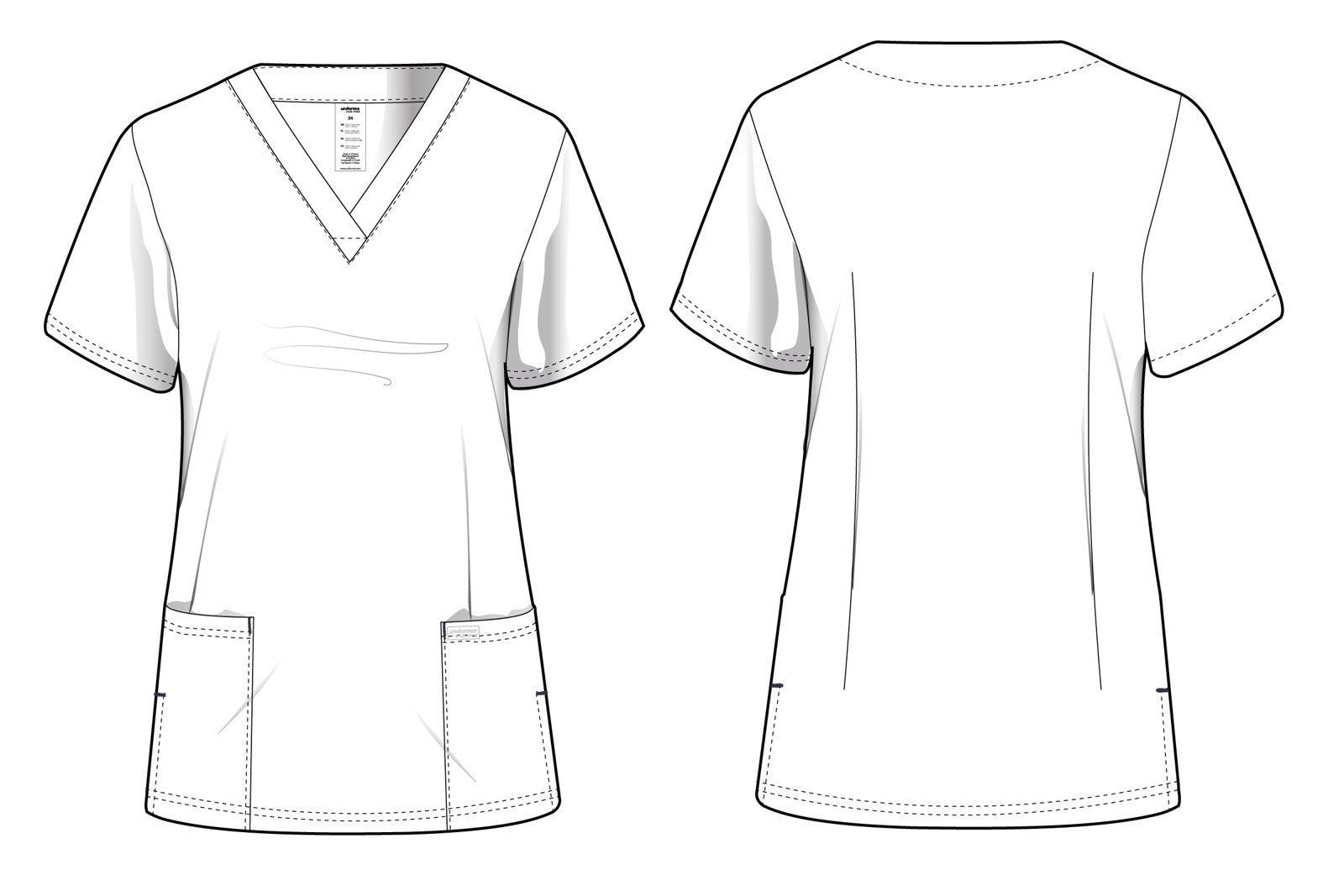 Bluza medyczna damska, 2 kieszenie, Uniformix Club Med, taliowana, szary ciemny. CM1001