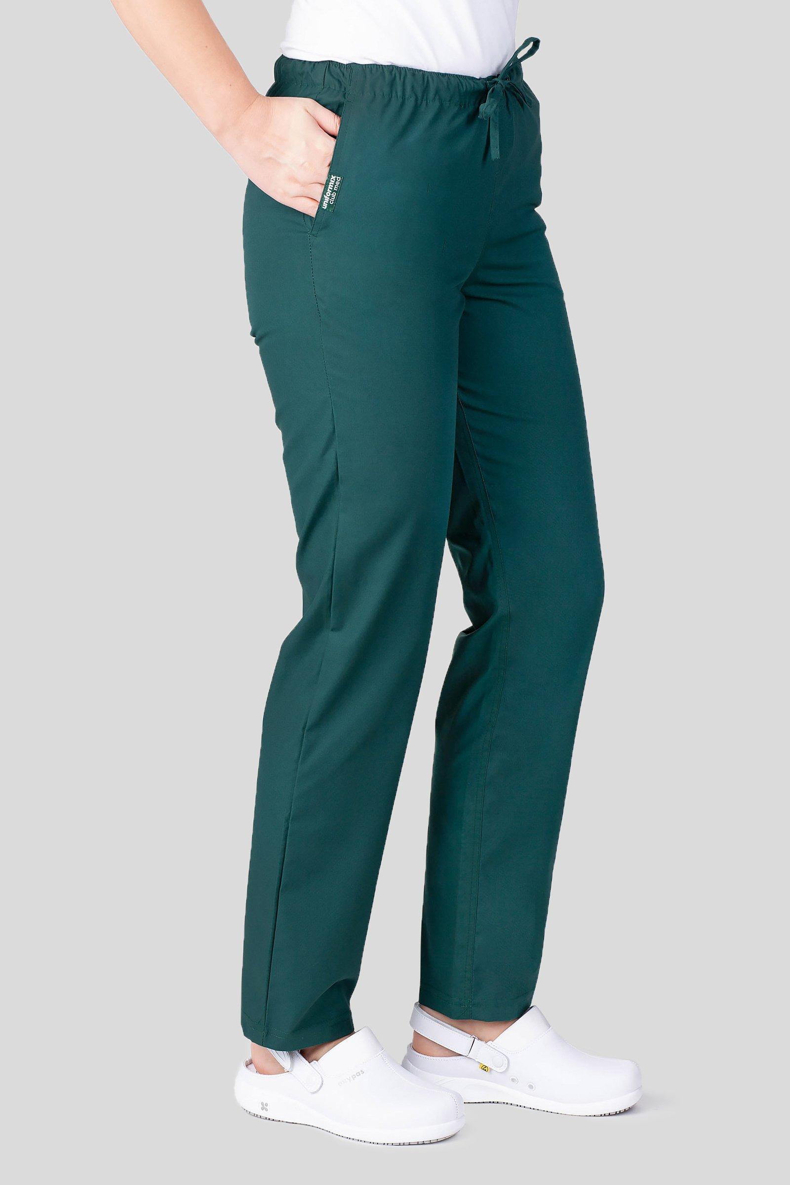 Spodnie medyczne uniwersalne Uniformix Club Med, zielone ciemne. CM119