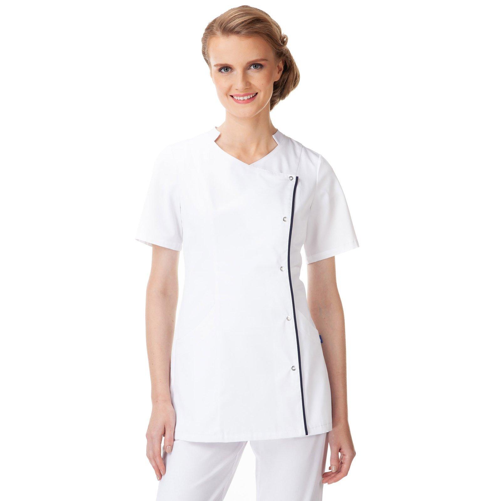d6234b302e48e Żakiet medyczny damski, biały z atramentową wypustką. UN2038 BIAŁY ...